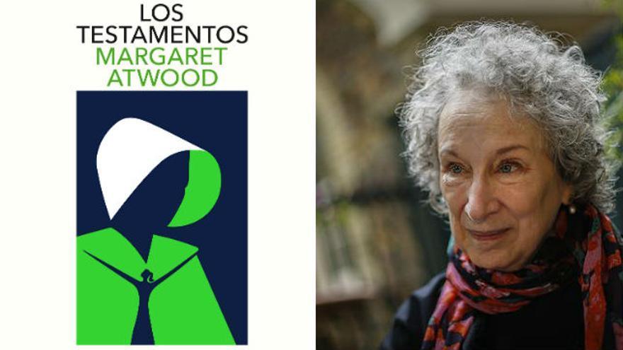 Portada de 'Los Testamentos' junto a su autora, Margaret Atwood