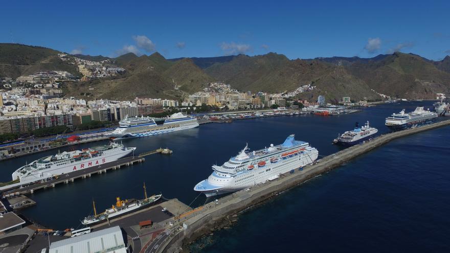 Buques de turismo atracados este viernes en el puerto de Santa Cruz