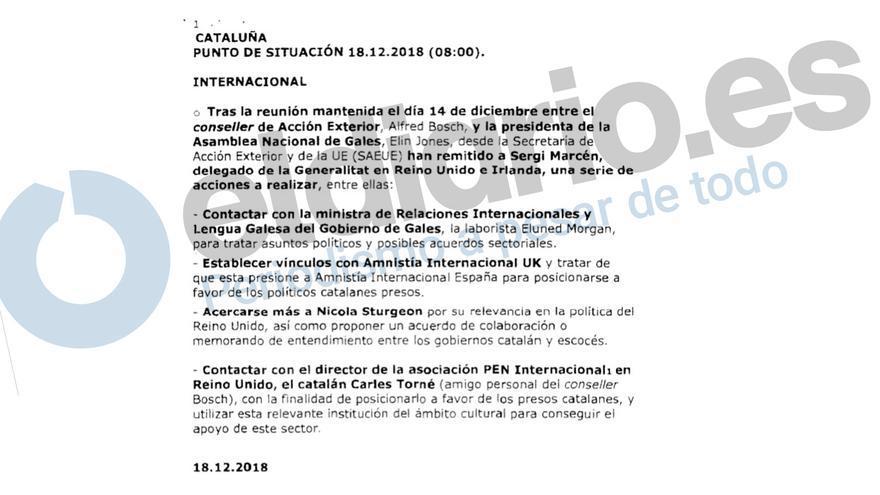 Nota informativa sobre las instrucciones de la conselleria de Exteriores a su delegación en Londres