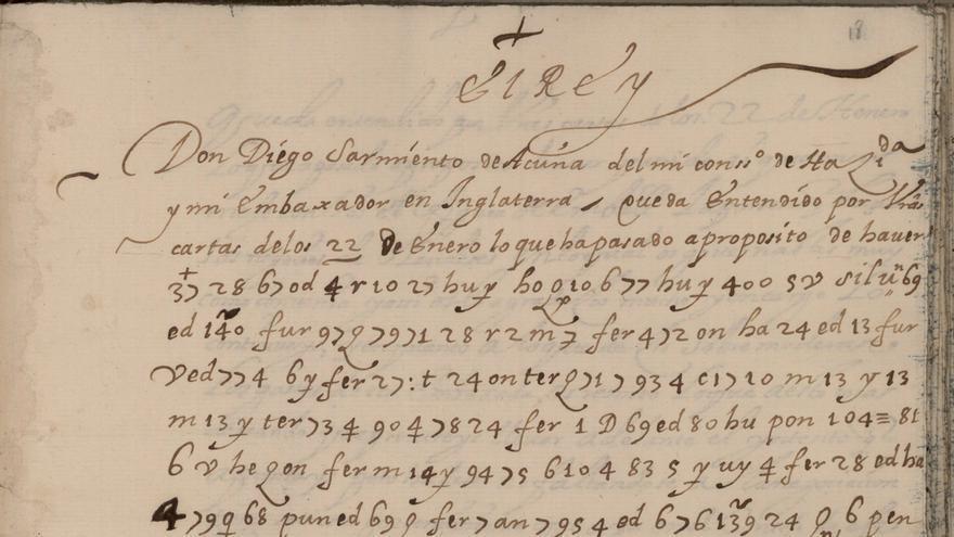 Carta de la biblioteca de Gondomar con un inicio habitual y el resto con caracteres cifrados