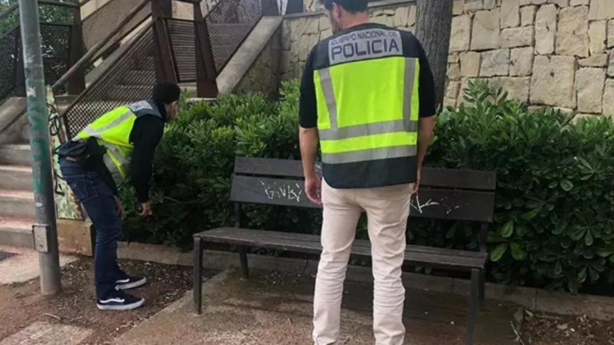 Agentes de policía inspeccionan el lugar de la agresión en Alicante.