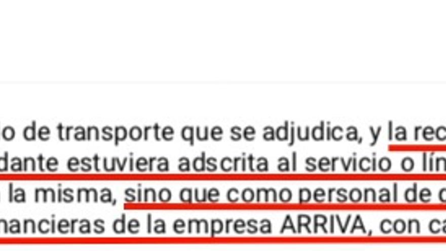 El TSJG también rechazó que Arriva intentase subrogar en la nueva concesionaria a una técnica financiera que hacía trabajos generales de contabilidad y no estaba adscrita a la línea que cambiaba de adjudicataria