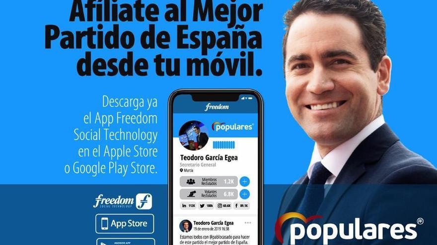 Teodoro García Egea, secretario general del PP, promocionando el uso de Freedom App.