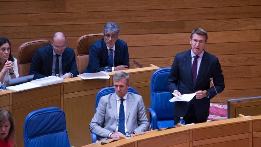 Feijóo durante su comparecencia este miércoles en el Parlamento de Galicia