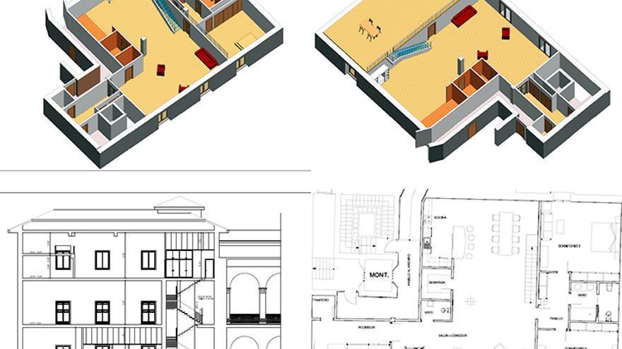 Plano del proyecto básico de la vivienda realizado por el arquitecto Jorge Riendas. Foto J.R.