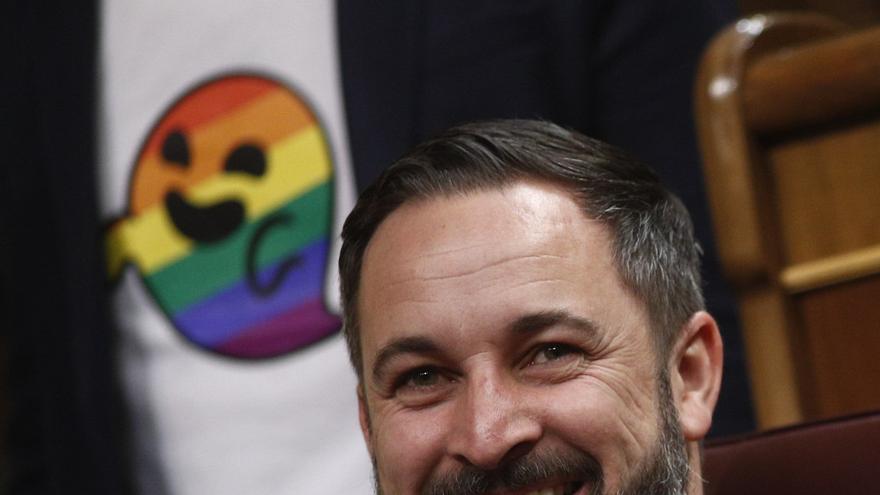 Santiago Abascal, sonriendo en su escaño con la imagen de Gaysper detrás, en la camiseta de un diputado socialista.