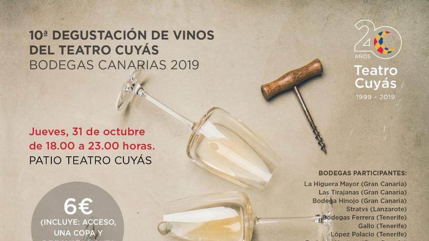 Cartel de la Décima Degustación de Vinos del Teatro Cuyás.