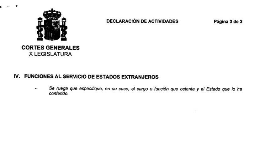 Declaración de actividades de Mariano Rajoy, presentada el 1 de diciembre de 2011.