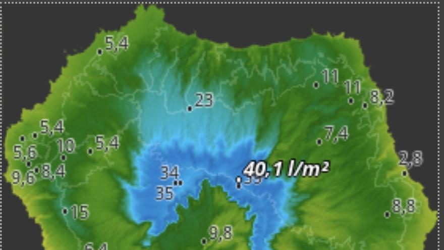 Mapa de HD Meteo La Palma de la lluvia caída, hasta las 18.40 horas de este jueves, 5 de diciembre, en diversos puntos de La Palma.