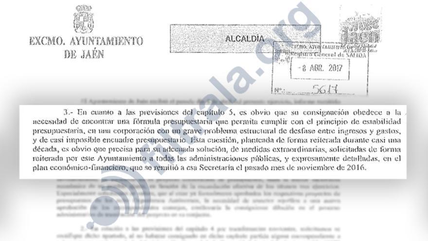 Documentación remitida por Jaén y Hacienda durante la vigilancia financiera.