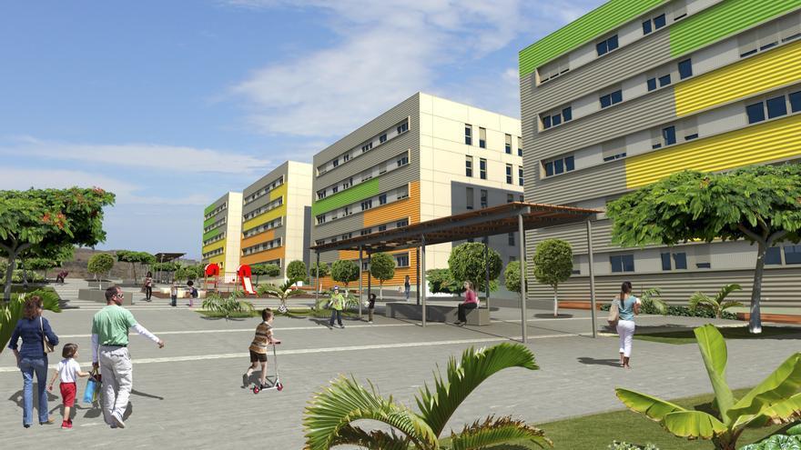 Infografía del proyecto de urbanización de viviendas sociales en el barrio de Tamaraceite.