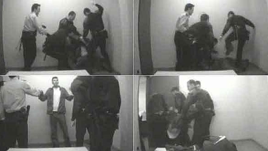 Imagen del vídeo de las agresiones sufridas por Lucian Paduraru.Fuente Archivo.