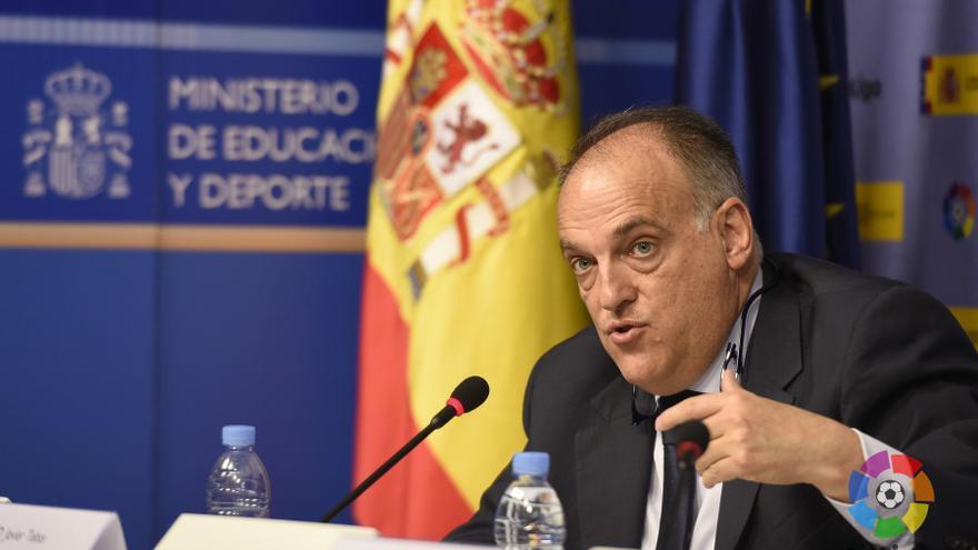 El presidente de LaLiga, Javier Tebas, durante la rueda de prensa posterior a la firma de la cesión gratuita de su software antipiratería al Ministerio de Cultura.