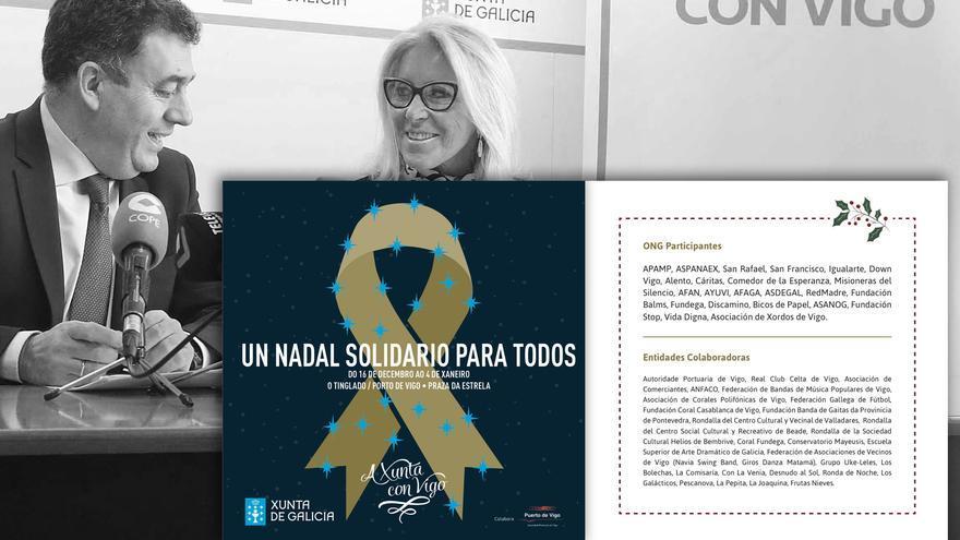 Páginas del programa de Navidad de la Xunta en Vigo, sobre una imagen del acto de presentación del evento