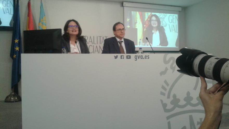 Mònica Oltra y Vicent Soler explican los Presupuestos tras el pleno del Consell.