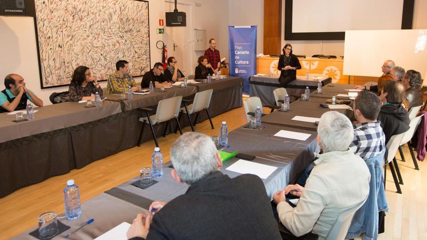 Una  de las reuniones,  celebrada en Gran Canaria, convocada por el Gobierno regional con la finalidad de actualizar el Plan Canario de Cultura.