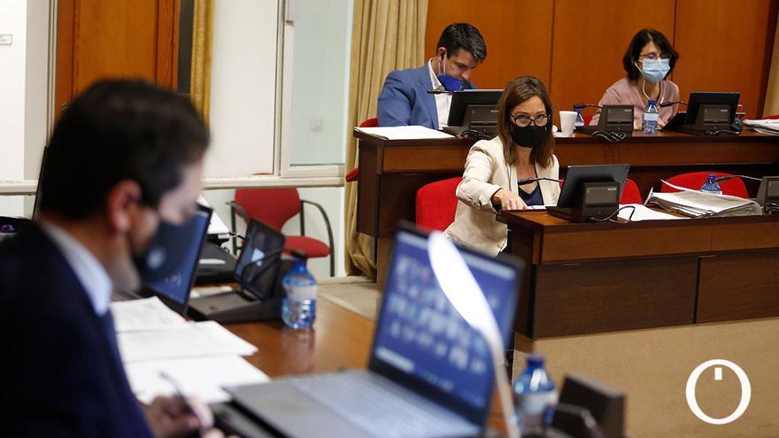 El alcalde, José María Bellido (PP), y la portavoz del PSOE, Isabel Ambrosio, en el Pleno.