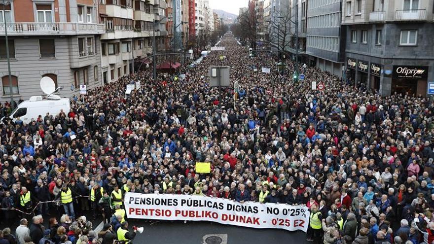 Unas 150.000 personas se manifiestan en Euskadi por unas pensiones dignas