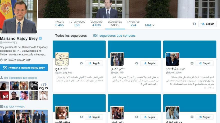 Muestra de los nuevos followers de Mariano Rajoy