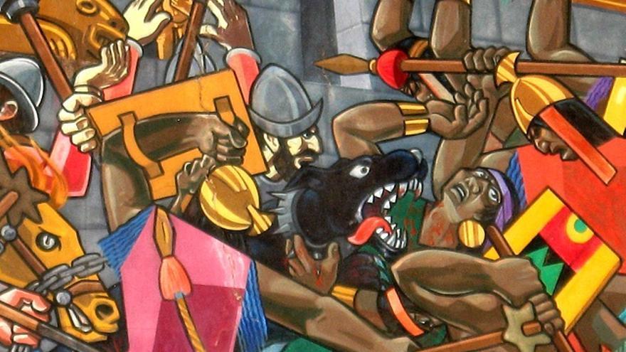 El artista peruano Juan Bravo pintó en 1992 un fresco de 50 metros de longitud y 6 metros de alto en el que se representa la conquista española de Perú. La pintura, considerada el mural más grande del mundo, se encuentra en Cuzco. En la imagen, un fragmento del mural, donde aparecen representadas las luchas entre los incas y los españoles.