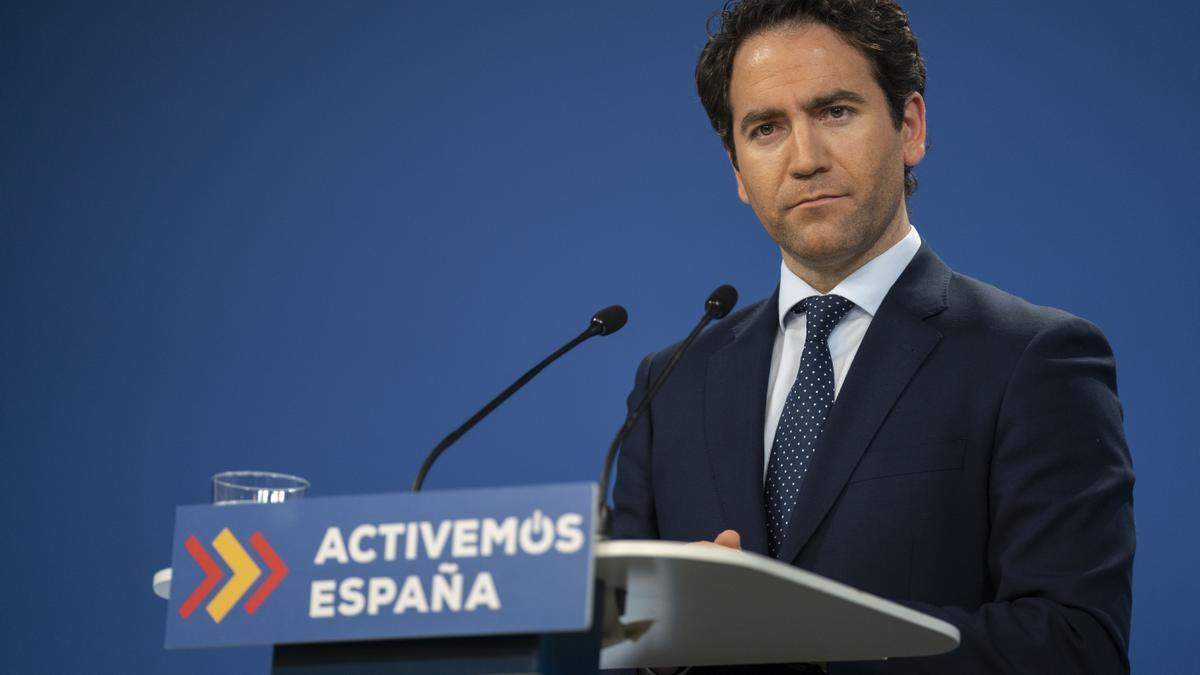 Teodoro García Egea, el pasado miércoles, durante una rueda de prensa.