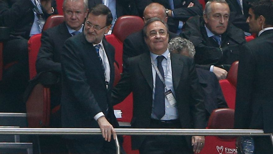 24/05/2014. Spain's Prime Minister and Florentino Perez attending UEFA Champions League final 13/14. Lisboa. / G3-JOMA / G3online