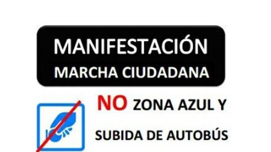 Cartel de la manifestación / Contra la subida de la zona azul y el precio del autobús de Cáceres