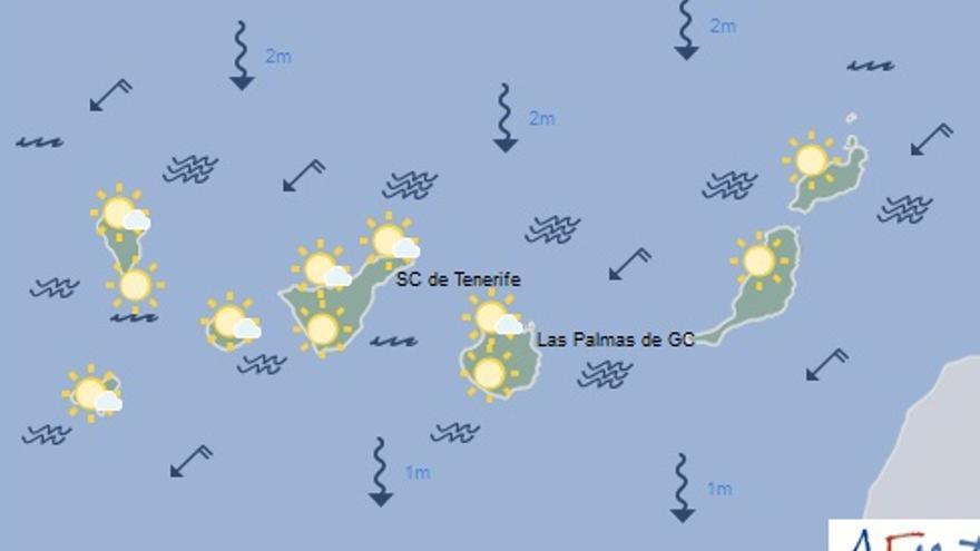 Mapa con la previsión meteorológica para este lunes, 3 de abril de 2017