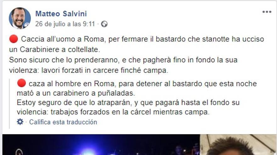 Mensaje compartido por Salvini en FB