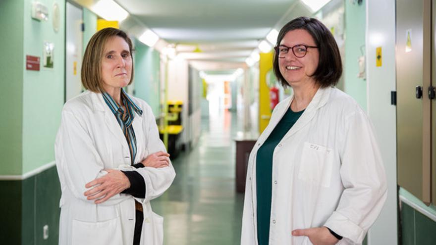Isabel Sola (izquierda) y Sonia Zúñiga (derecha) en el Centro Nacional de Biotecnología. / Álvaro Muñoz Guzmán, SINC