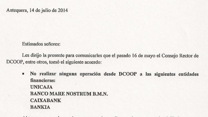 Carta Dcoop a proveedores