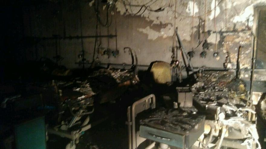 Estado de una de las estancias de Urgencias del hospital de la Candelaria en que más afectó el fuego