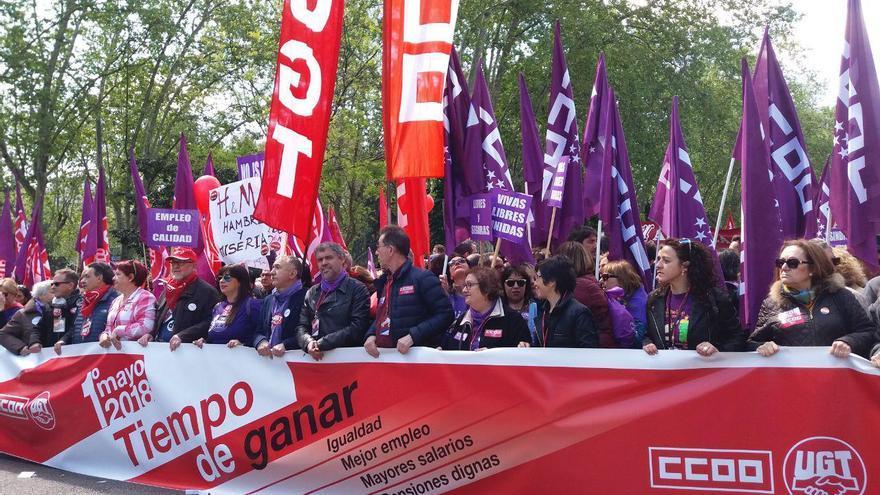 Cabecera de la manifestación del Primero de Mayo en Madrid. FOTO: L.0