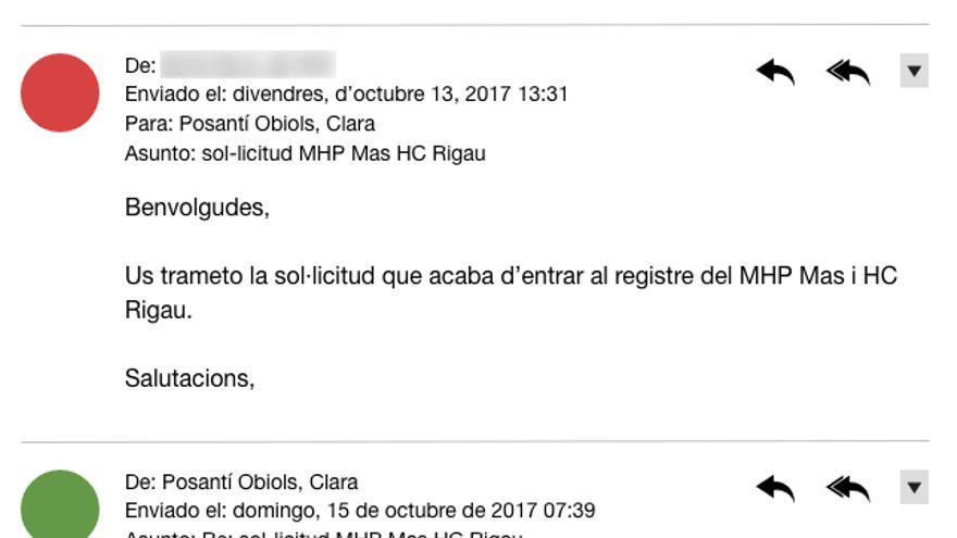 Correos electrónicos intercambiados sobre la solicitud de Mas y Rigau