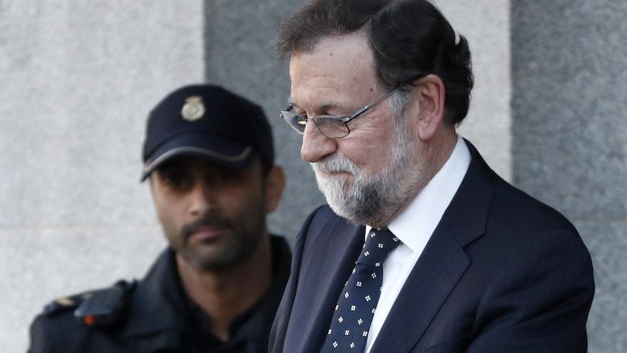 Mariano Rajoy, a su salida del Tribunal Supremo tras prestar declaración en el juicio del procés.