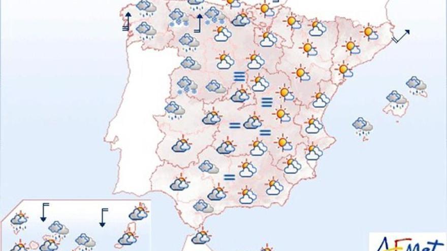 Lluvias en Andalucía y Extremadura y descenso general de las temperaturas