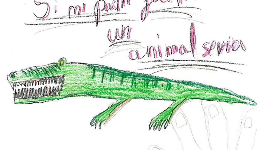 Dibujo realizado por un niño de 7 años. Tema: la familia.