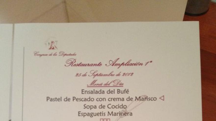 Carta del menú del restaurante del Congreso de los Diputados.