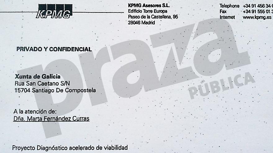 Primera página del informe de KPMG esgrimido por la Xunta como supuesta auditoría