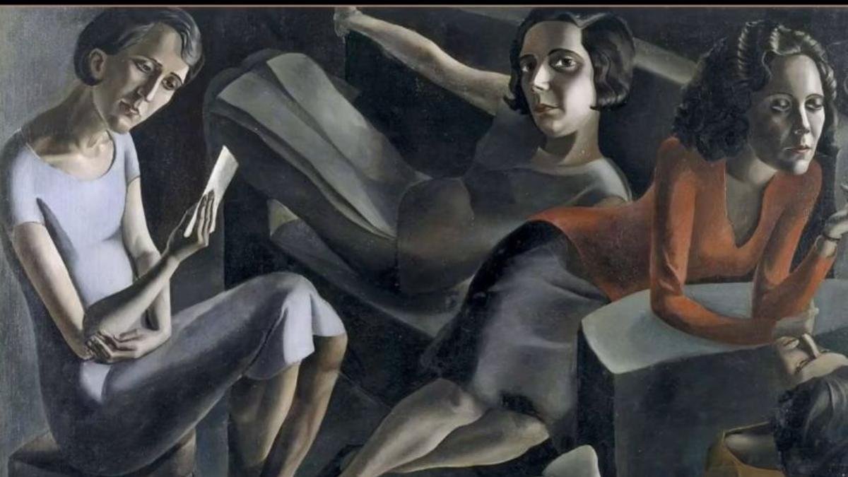 El cuadro 'La tertulia', de Ángeles Santos, una de las imágenes con las que las impulsoras piden más presencia de artistas en los libros de texto.
