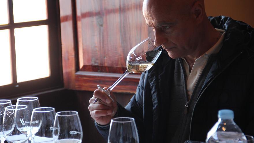 Catador en la primera jornada del examen a los vinos participantes en el certamen Agrocanarias 2019