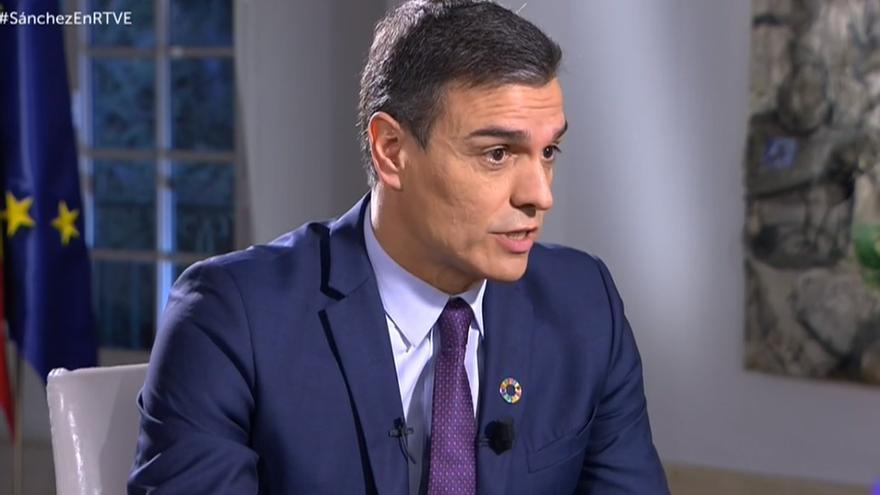 Pedro Sánchez durante la entrevista en TVE.