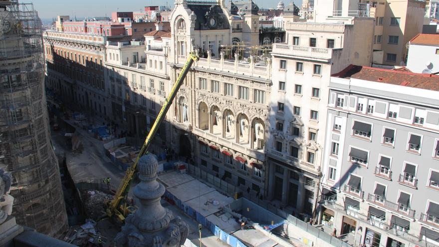 Parte de las obras de Canalejas, en la calle Alcalá. / S.P