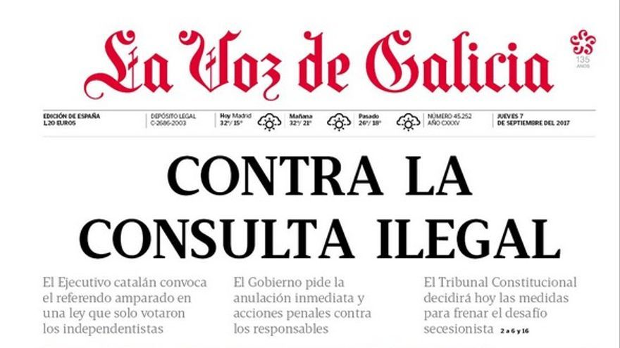 Portada de La Voz de Galicia de este 7 de septiembre.