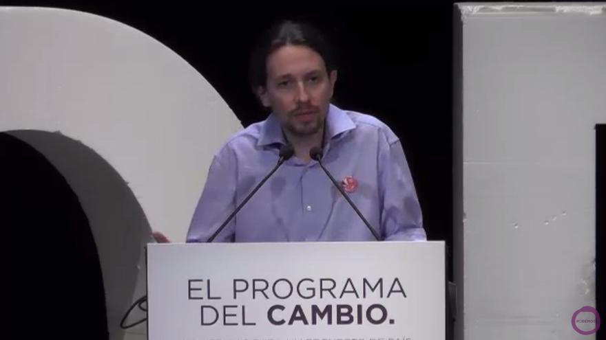 Pablo Iglesias presenta el programa de Podemos para acudir a las elecciones autonómicas.