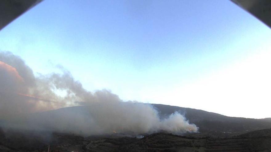 Imagen  de los primeros momentos del fuego   en Llano Negro captada por la webcam del Cabildo de La Palma en San Antonio del Monte.
