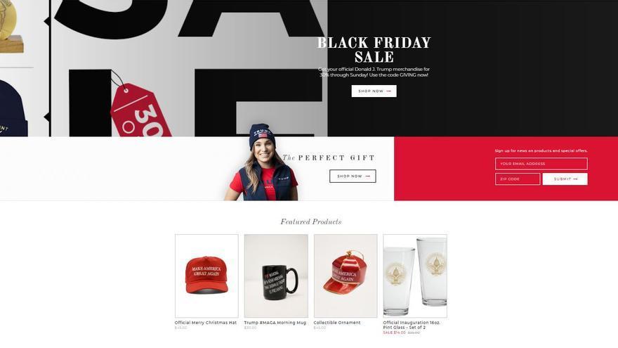 Captura de la página oficial de productos de Donald Trump.