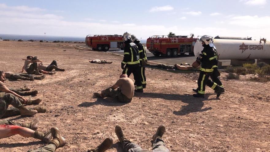 Simulacro realizado en el aeropuerto de Fuerteventura