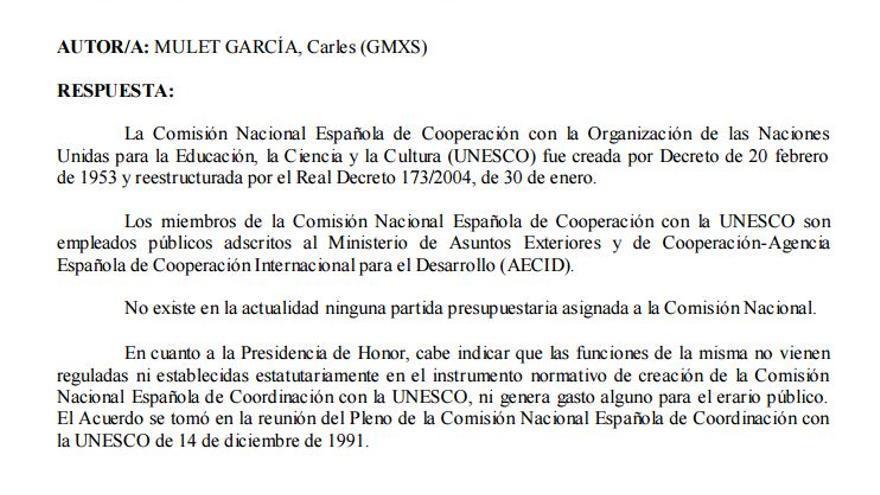 Respuesta al senador Carles Mulet