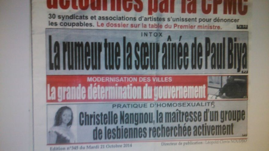 "Portada del diario camerunés L'Epervier: ""Práctica de homosexualidad. Se busca activamente a Christelle Nangdou, líder de un grupo de lesbianas"""